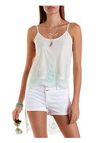High-Low Embroidered Mesh Tank Top