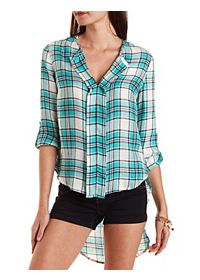 High-Low Plaid Pullover Top