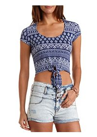 Printed Tie-Front Crop Top