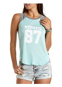 High-Low Mermaid Graphic Baseball Tee