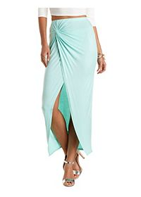 Ruched & Knotted Maxi Skirt