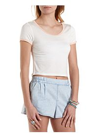 High-Low Cropped Ringer Tee