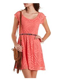 Tribal-Belted Crochet Skater Dress