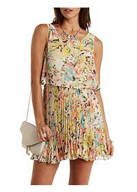 Floral Accordian Pleated Skater Dress