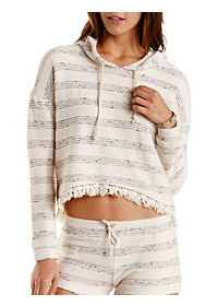 Fringe-Trim French Terry Hoodie