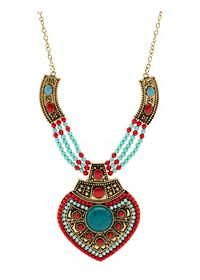 Beaded Medallion Statement Necklace