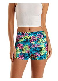 Tropical Print High-Waisted Bike Shorts