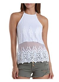 Embroidered Mesh Tank Top