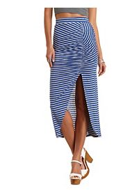 Striped Ruched Tulip Slit Maxi Skirt