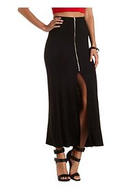 Zipper Slit Maxi Skirt