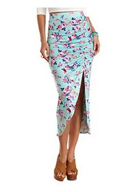 Floral Ruched Tulip Slit Maxi Skirt