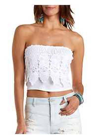 Crocheted Lace Overlay Tube Top
