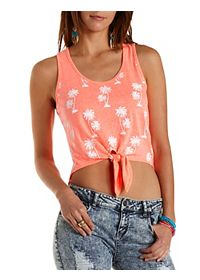 Tropical Print Knotted Tank Top