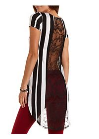 Lace-Back Striped High-Low Tee