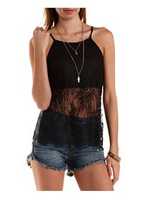 Mixed Lace Side Slit Tank Top