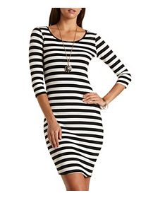 Three-Quarter Sleeve Striped Midi Dress
