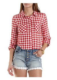 Gingham-Checked Button-Up Crop Top