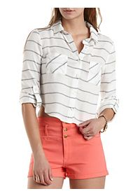 Striped Button-Up Crop Top