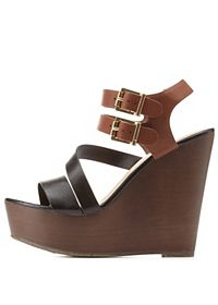 Strappy Color Block Platform Wedges