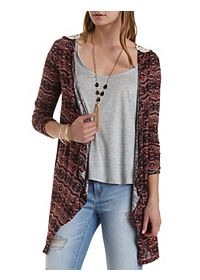 Patterned Waterfall Cardigan with Crochet