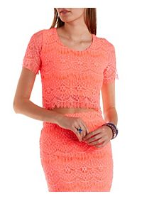 Neon Lace Crop Top