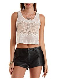 Sheer Embroidered Chiffon Crop Top