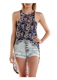 Paisley Extreme High-Low Tank Top
