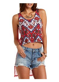 Lace-Back High-Low Tank Top