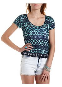 Geometric Print Tee with Tassels