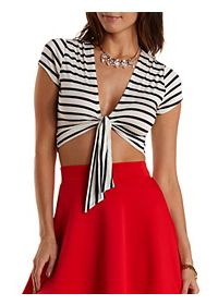 Tie-Front Striped & Cropped Tee