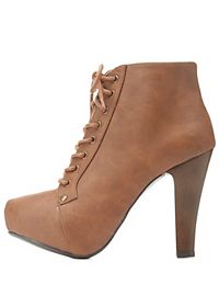 High Heel Lace-Up Platform Booties
