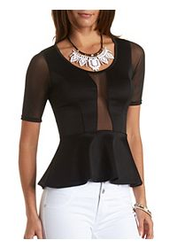 Mesh Paneled Peplum Top