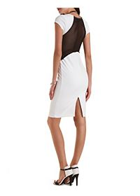 Mesh Cut-Out Bodycon Midi Dress