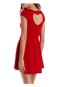Heart Shaped Cutout Skater Dress