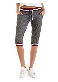 Striped & Marled Cropped Sweatpants