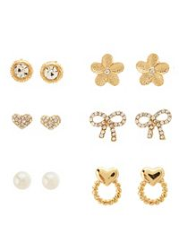 Bow & Heart Door Knocker Stud Earrings - 6 Pack