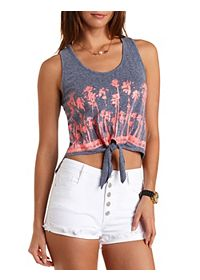 Tie-Front Palm Tree Graphic Tank Top