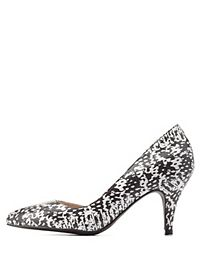 Printed D'Orsay Kitten Heel Pumps