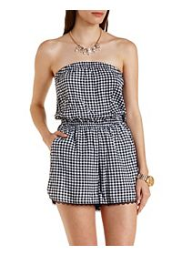 Lace-Trim Gingham Strapless Romper