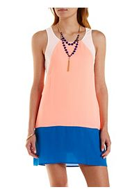 Neon Color Block Shift Dress