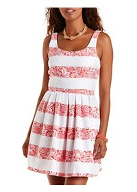Striped Brocade Skater Dress
