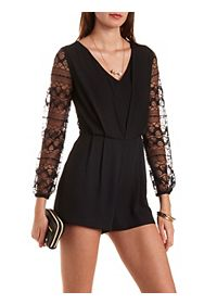 Lace & Chiffon Long Sleeve Romper