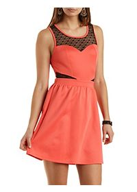 Heart-Dotted Mesh Cut-Out Skater Dress