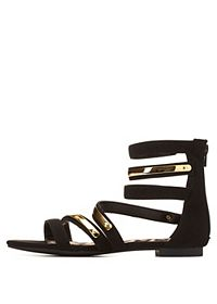 Qupid Strappy Ankle Cuff Gladiator Sandals