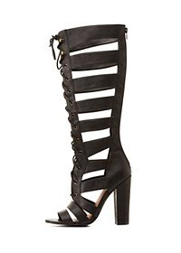 Qupid Lace-Up Gladiator Heels