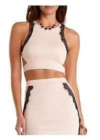 Lace-Trim Cut-Out Crop Top
