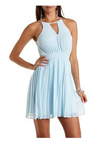 Racer Front Pleated Chiffon Dress