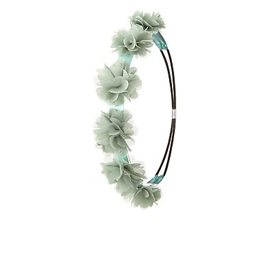 Rhinestone & Chiffon Flower Crown Head Wrap