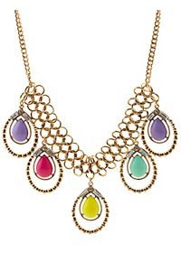 Colorful Teardrop Statement Necklace