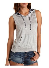 Tribal Drawstring Sleeveless Hoodie